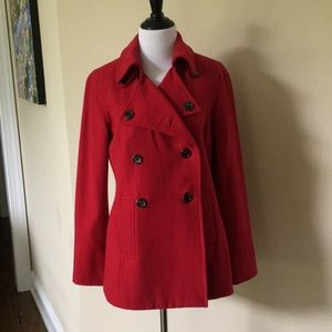 ❤️ Red wool blend Pea Coat